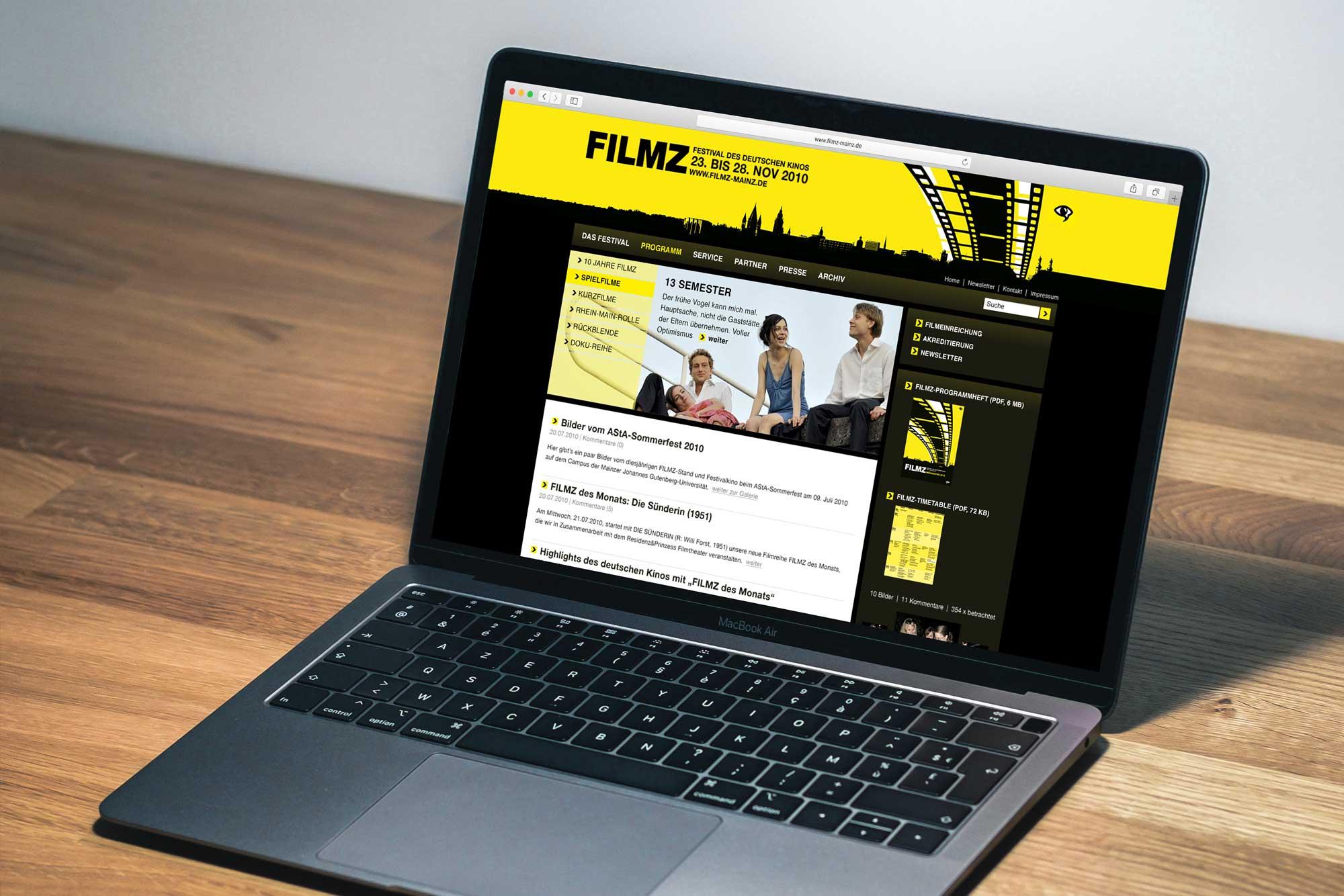 Webdesign Filmz Mainz